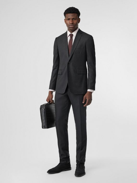 Slim Fit Wool Silk Linen Suit in Dark Grey Melange