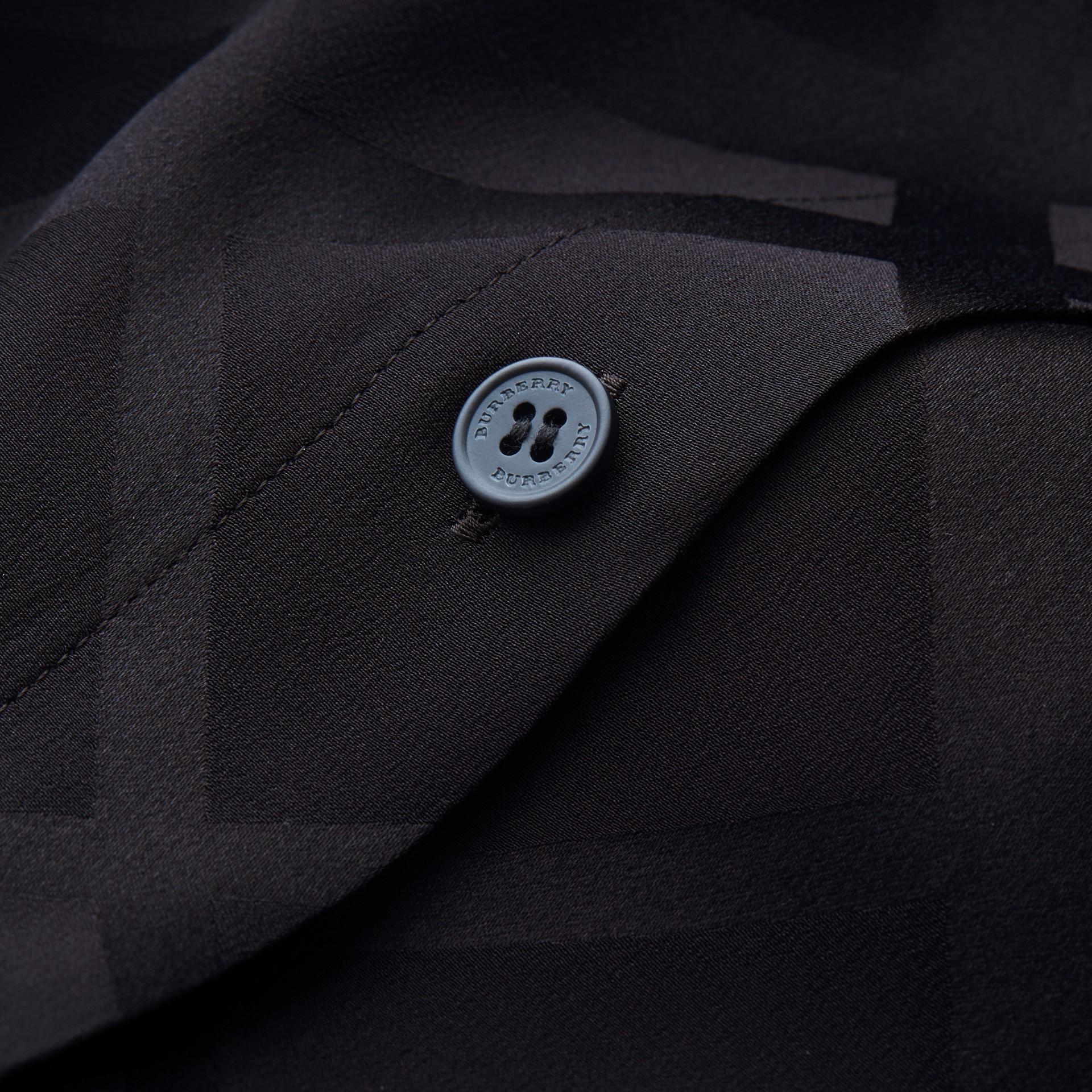 Tonal Check Silk Shirt Black - gallery image 2