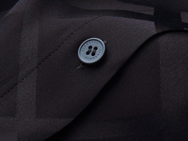 Tonal Check Silk Shirt Black - cell image 1