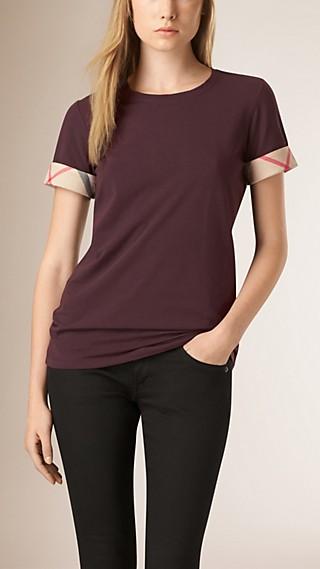 T-shirt in cotone stretch con risvolti con motivo check