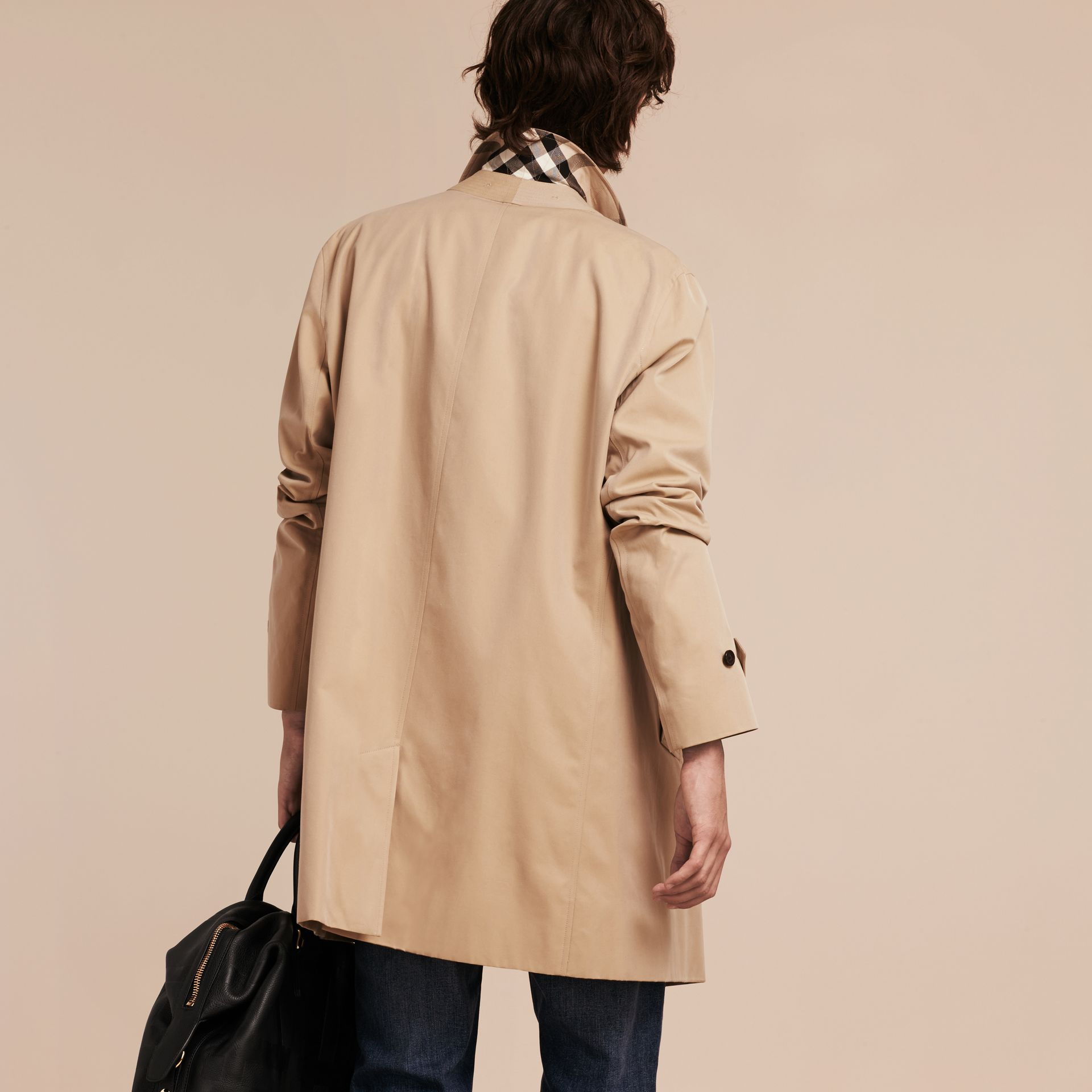 Cotton Gabardine Car Coat in Honey - gallery image 3