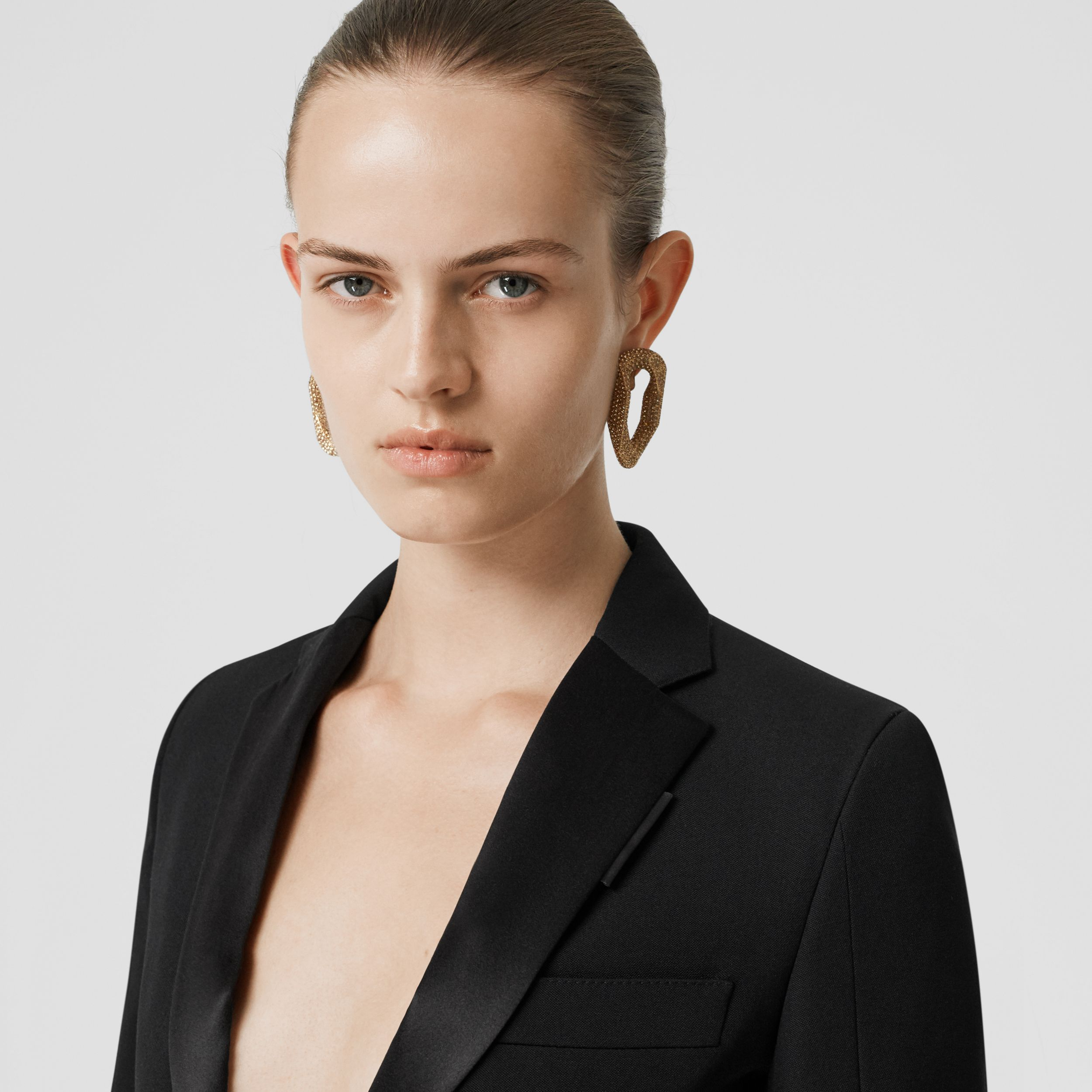 Silk Trim Wool Tailored Jacket in Black - Women | Burberry Canada - 2