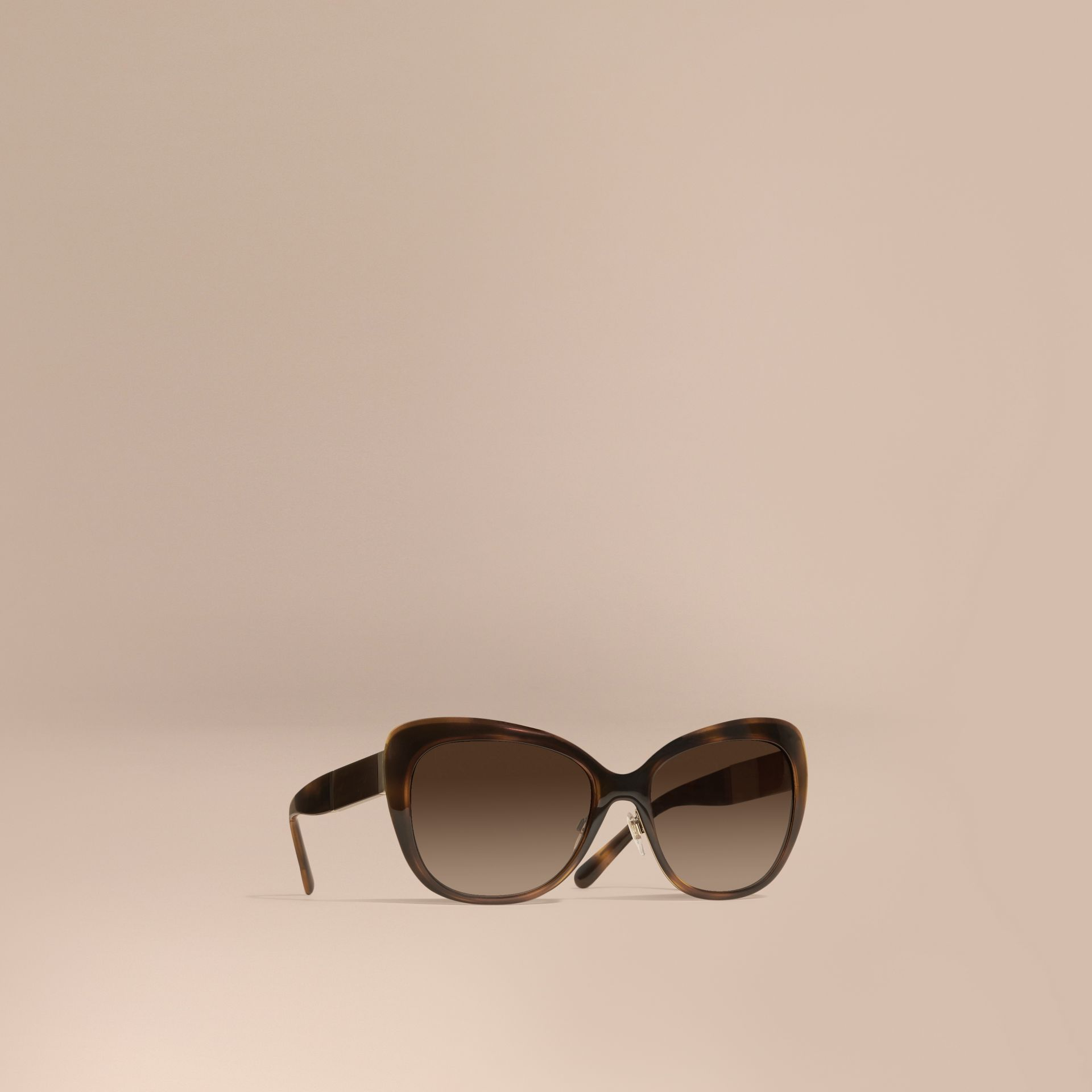 Light russet brown Check Detail Square Cat-eye Sunglasses Light Russet Brown - gallery image 1