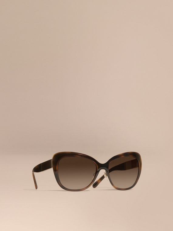 Check Detail Square Cat-eye Sunglasses Light Russet Brown