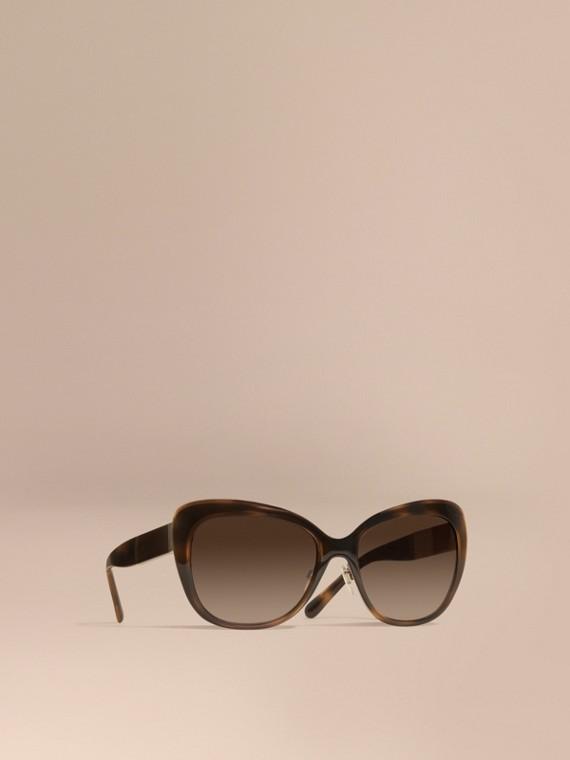 Eckige Cat-Eye-Sonnenbrille mit Check-Detail Helles Rotbraun