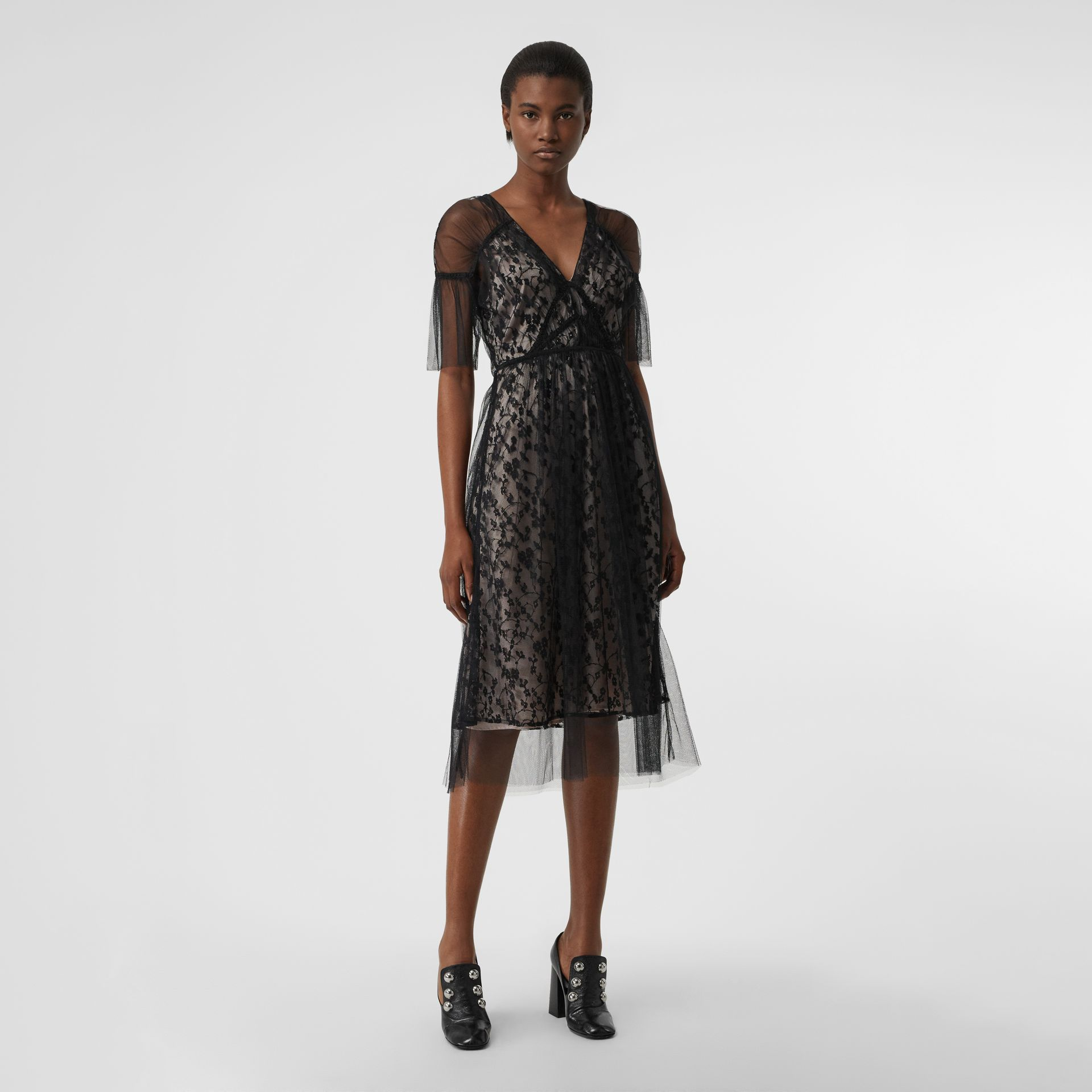 Ruffled Hem Embroidered Tulle Dress in Black - Women | Burberry - gallery image 0