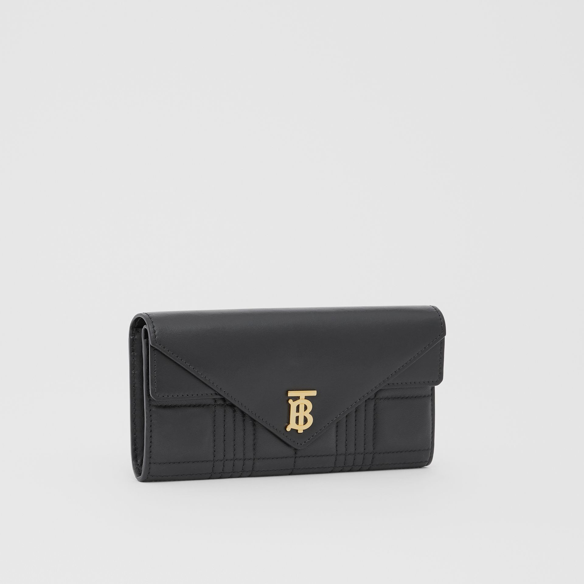 Monogram Motif Quilted Continental Wallet in Black - Women | Burberry - gallery image 4