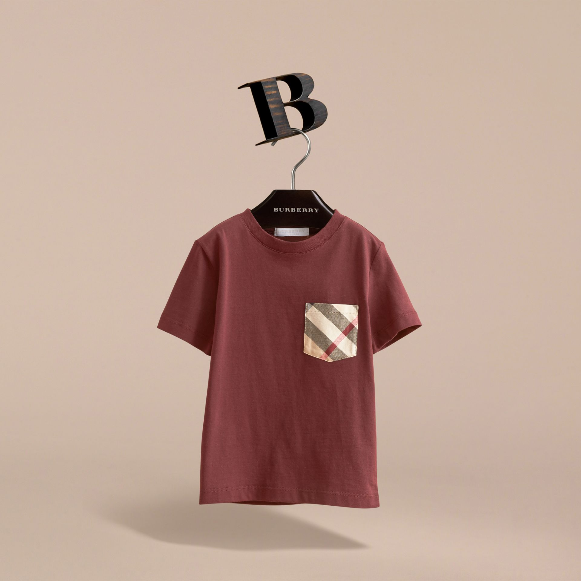 Check Pocket Cotton T-shirt in Oxblood - Boy | Burberry - gallery image 3