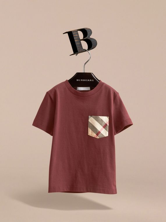 Check Pocket Cotton T-shirt in Oxblood - Boy | Burberry - cell image 2