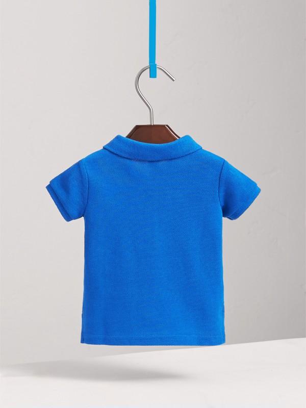 Check Placket Cotton Piqué Polo Shirt in Cobalt Blue | Burberry - cell image 3