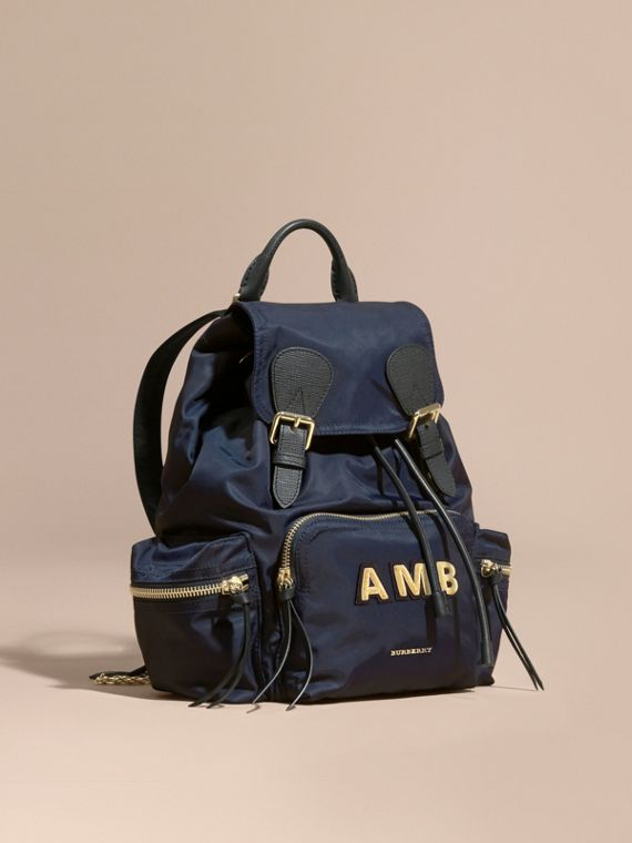 The Medium Rucksack in Technical Nylon and Leather Ink Blue