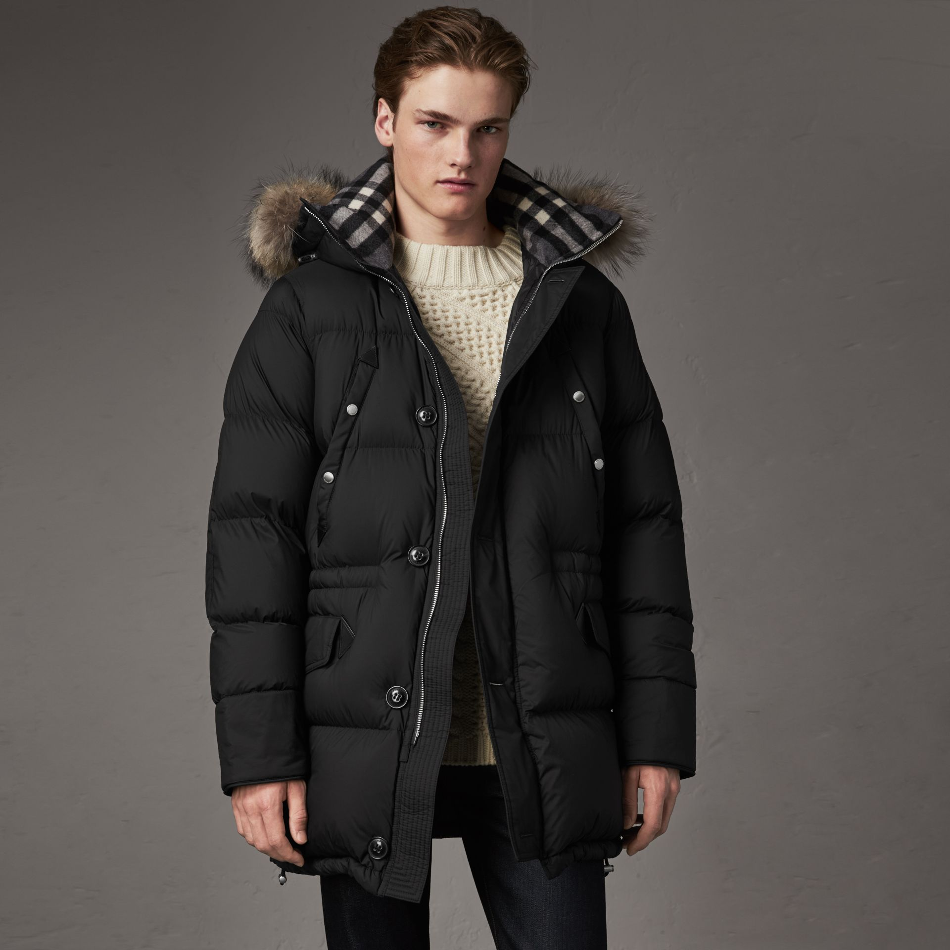 Detachable Raccoon Fur Trim Hood Down-filled Parka in Black - Men | Burberry - gallery image 0