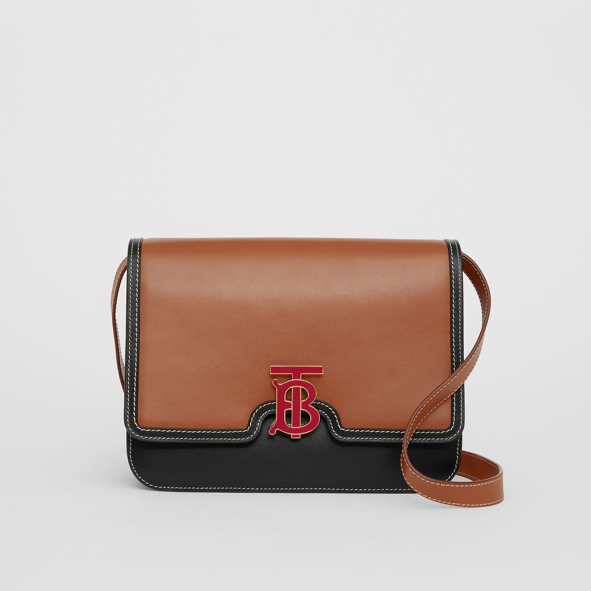 Medium Two-tone Leather TB Bag in Malt Brown/black - Women | Burberry United Kingdom - gallery image 0