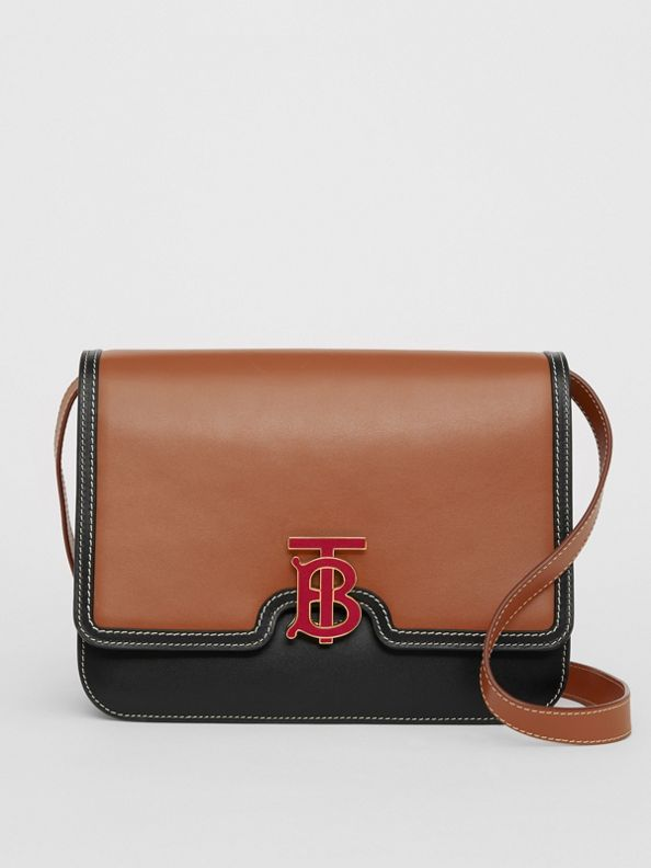 Borsa TB media in pelle bicolore (Marrone Malto/nero)