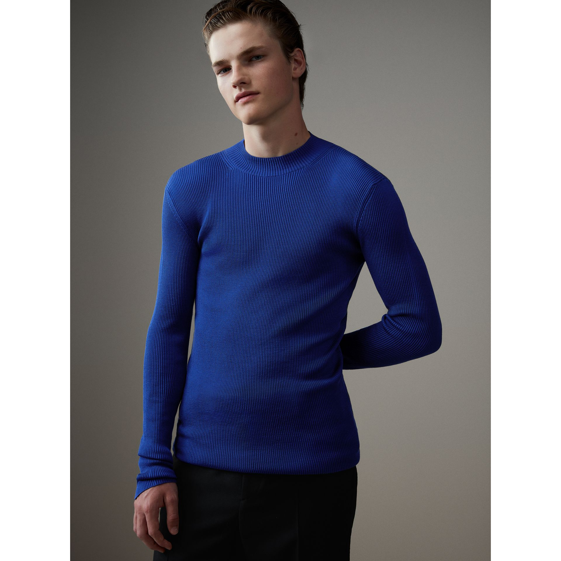 Rib Knit Silk Fitted Sweater in Brilliant Blue - Men | Burberry Singapore - gallery image 1