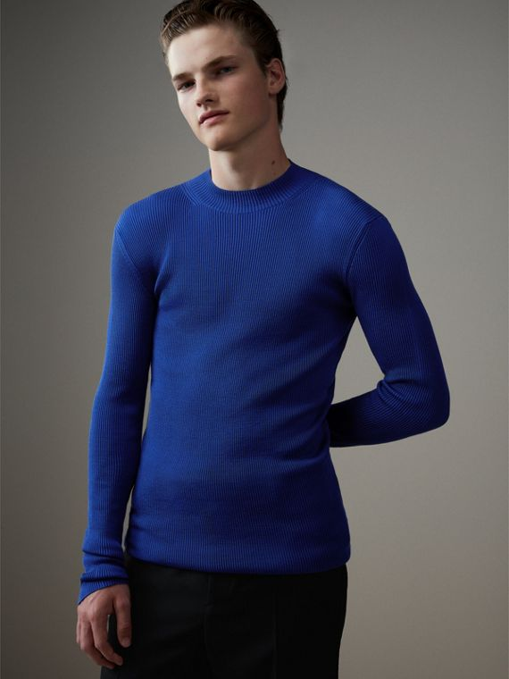 Rib Knit Silk Fitted Sweater in Brilliant Blue