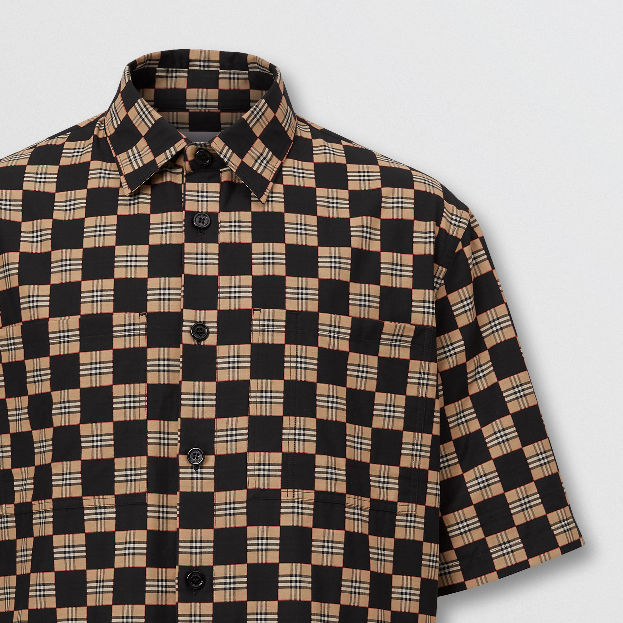 Short-sleeve Chequer Print Cotton Shirt | Burberry - 3