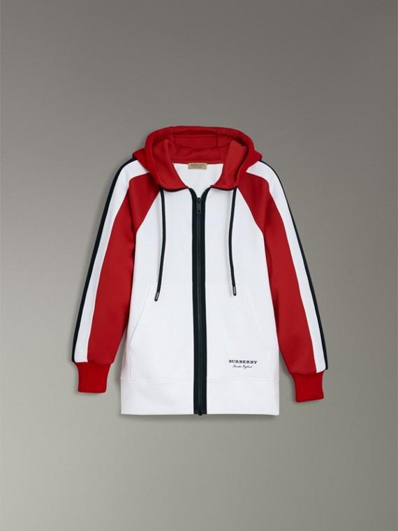 Jaqueta de malha de algodão com capuz e detalhe de listras (Branco) - Mulheres | Burberry - cell image 3