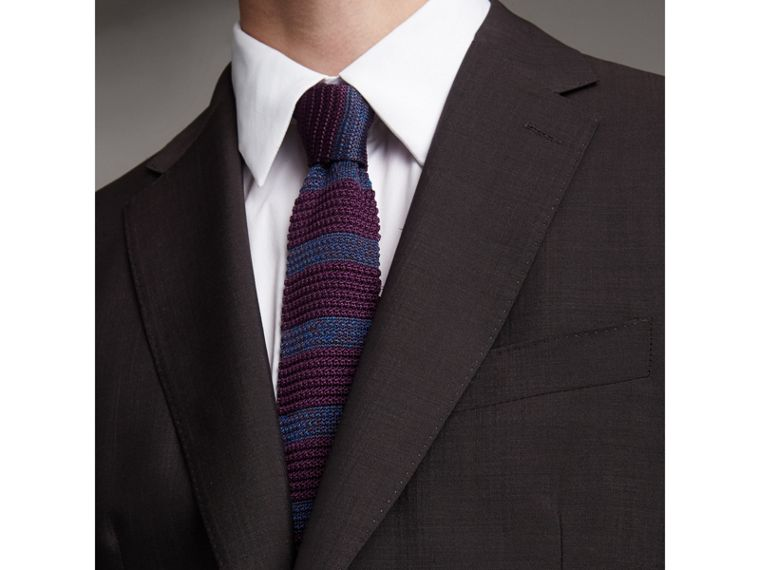 Slim Cut Two-tone Knitted Silk Tie in Heather - Men | Burberry Canada - cell image 2