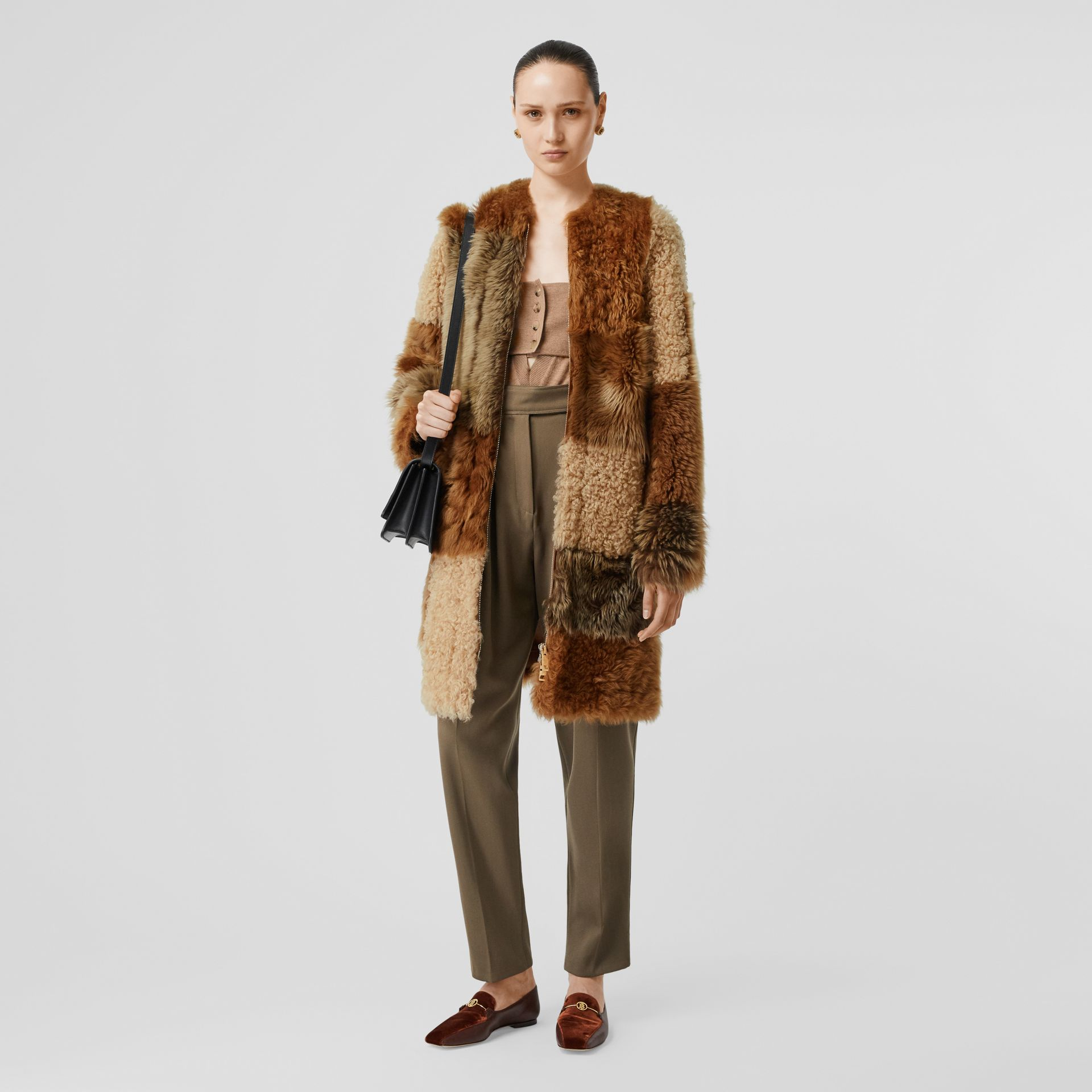 Patchwork Shearling Coat in Toffee - Women | Burberry - gallery image 0