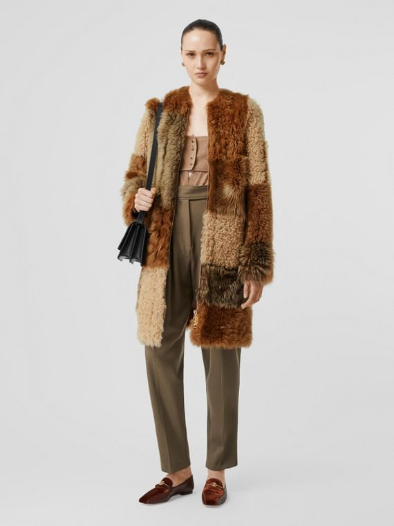 Patchwork Shearling Coat in Toffee