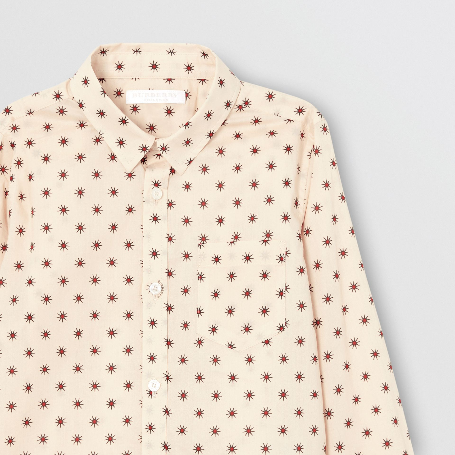 Star Print Cotton Shirt in Military Red | Burberry - gallery image 4