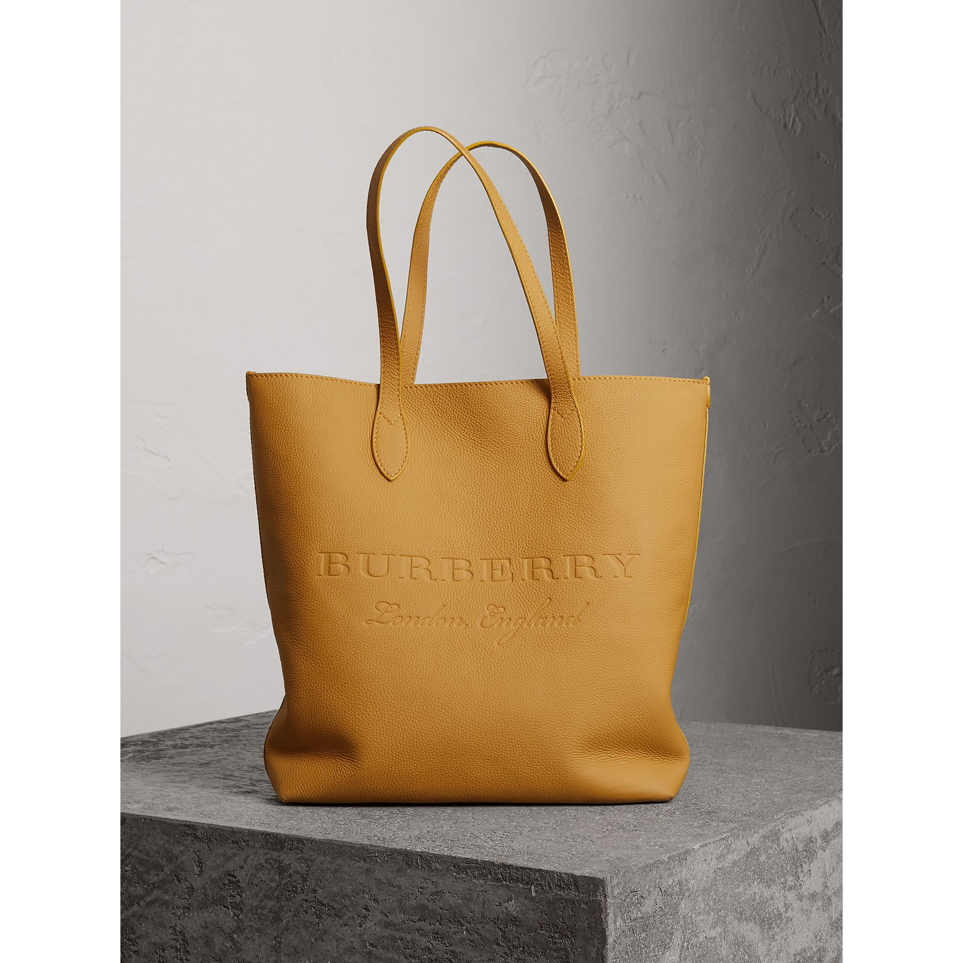 Embossed Leather Tote in Ochre Yellow | Burberry United Kingdom - gallery image 0