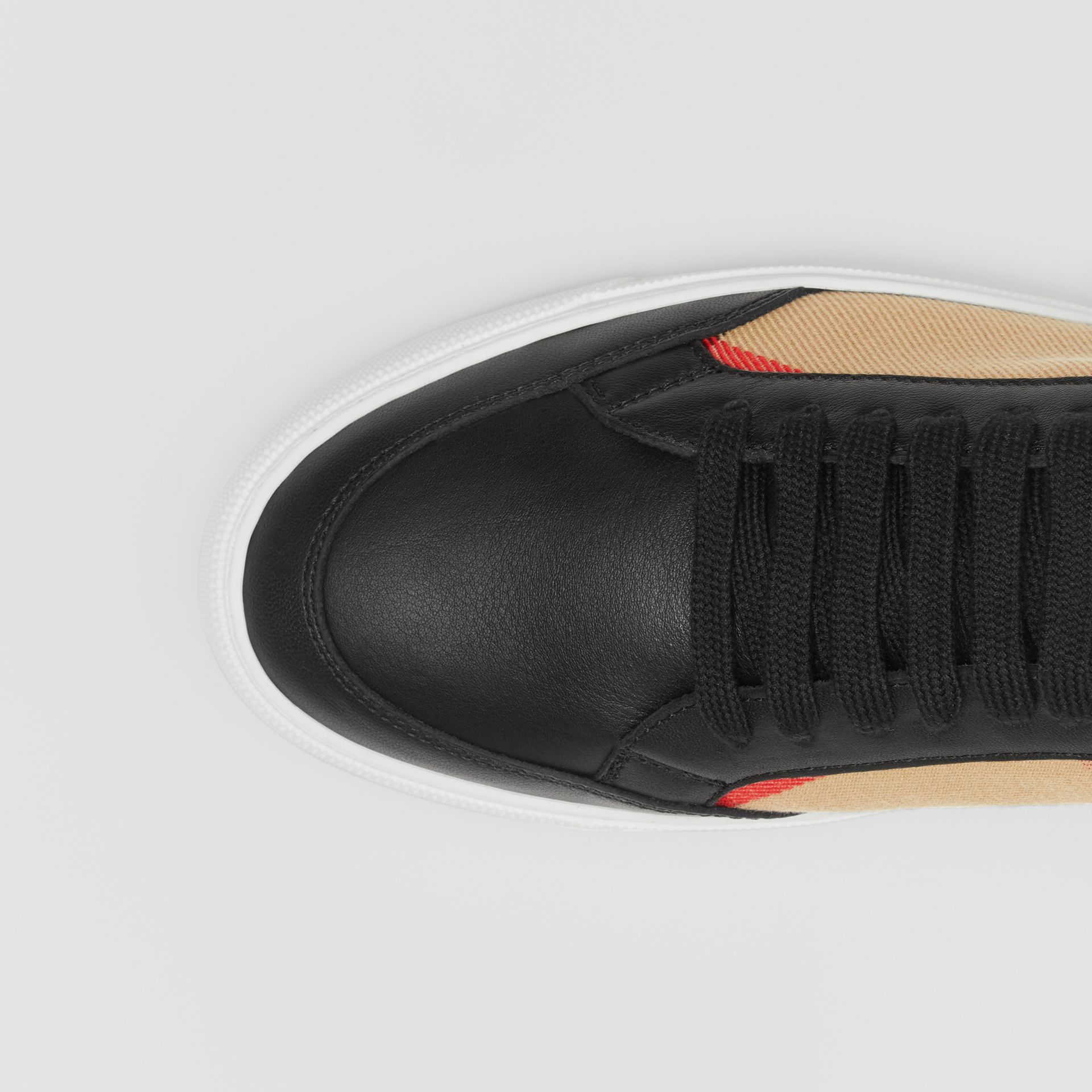 House Check and Leather Sneakers in Black - Women | Burberry United Kingdom - gallery image 1