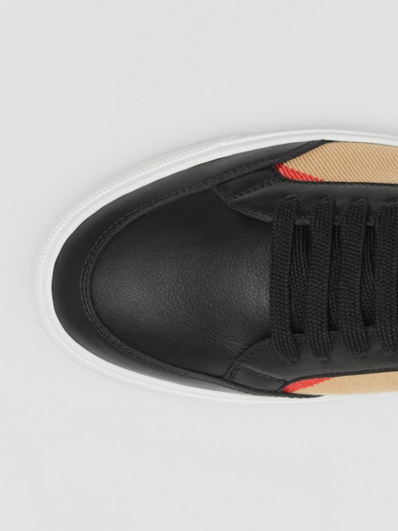 House Check and Leather Sneakers in Black - Women | Burberry United Kingdom - cell image 1