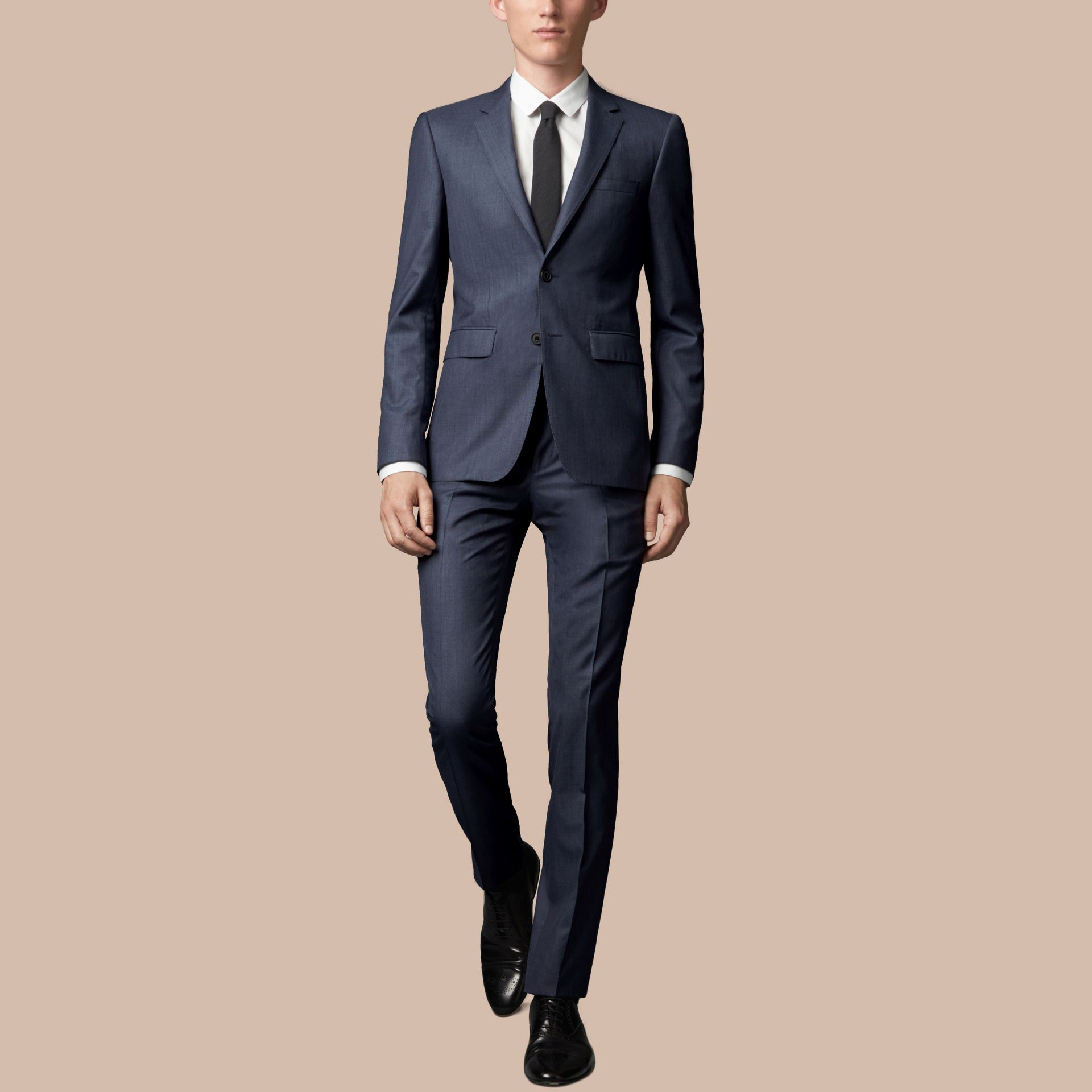 Steel blue Slim Fit Wool Silk Suit - gallery image 1