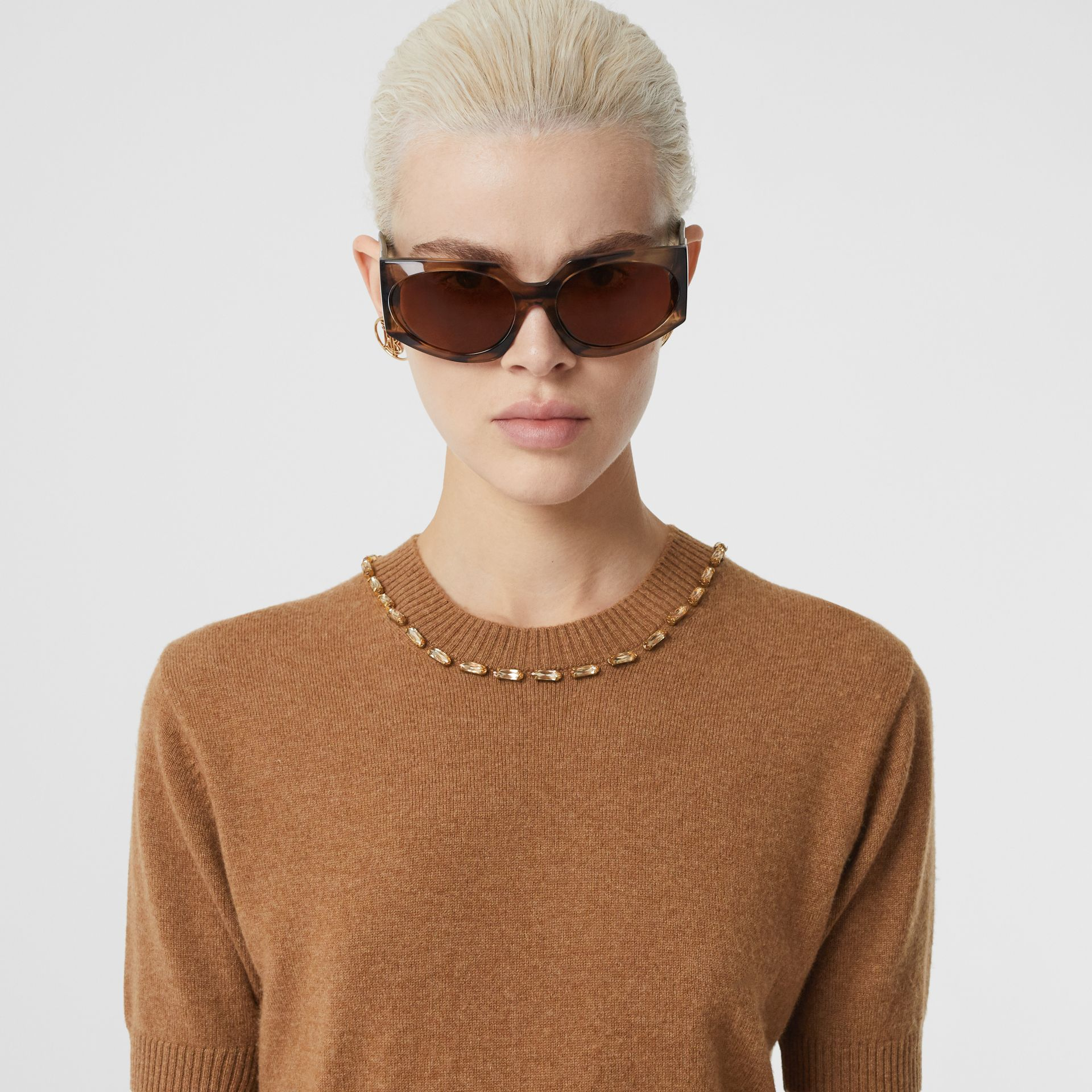 Embellished Cashmere Top in Burnt Almond - Women | Burberry - gallery image 1