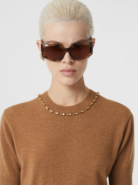 Embellished Cashmere Top in Burnt Almond - Women | Burberry - cell image 1
