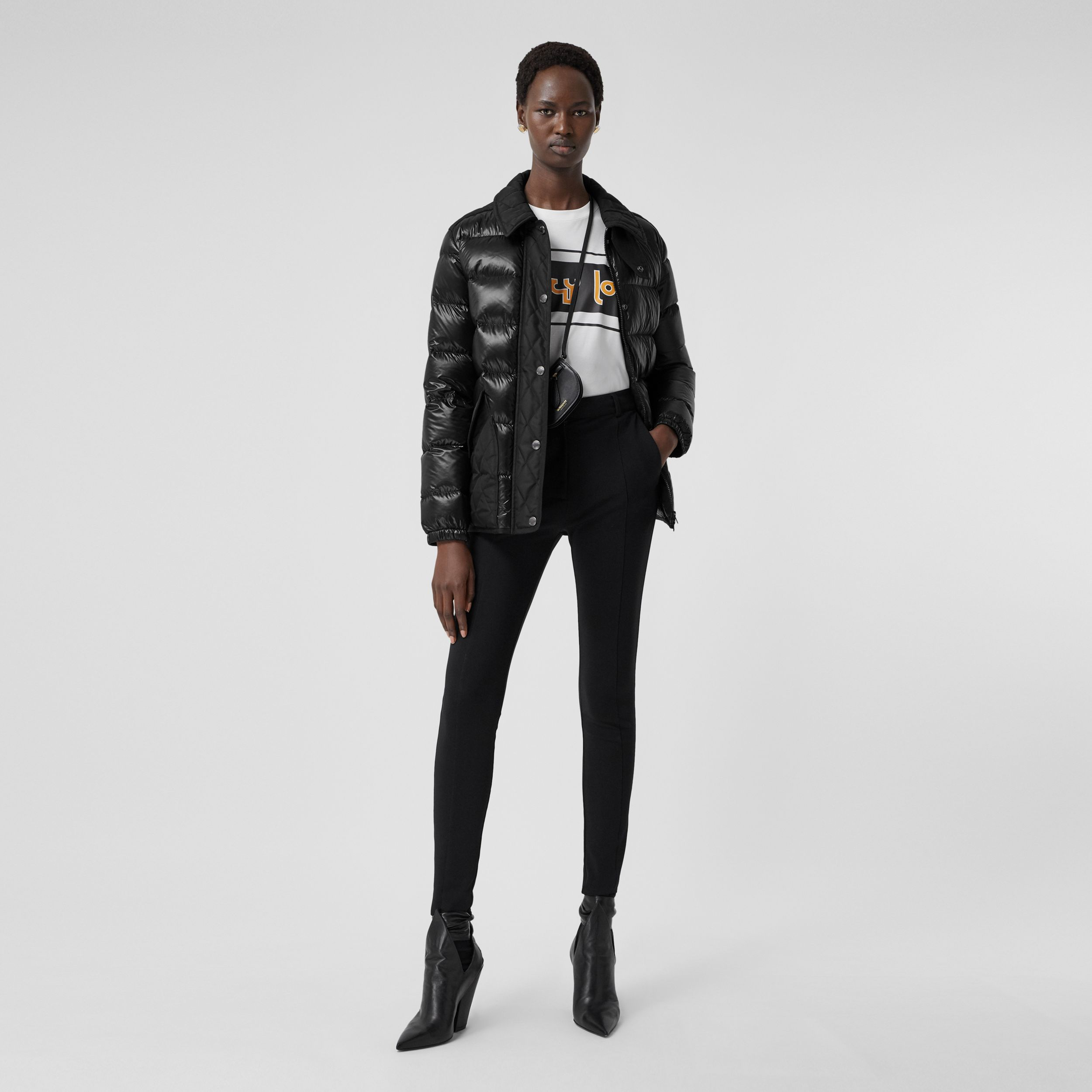 Diamond Quilted Panel Puffer Jacket in Black - Women | Burberry Singapore - 1