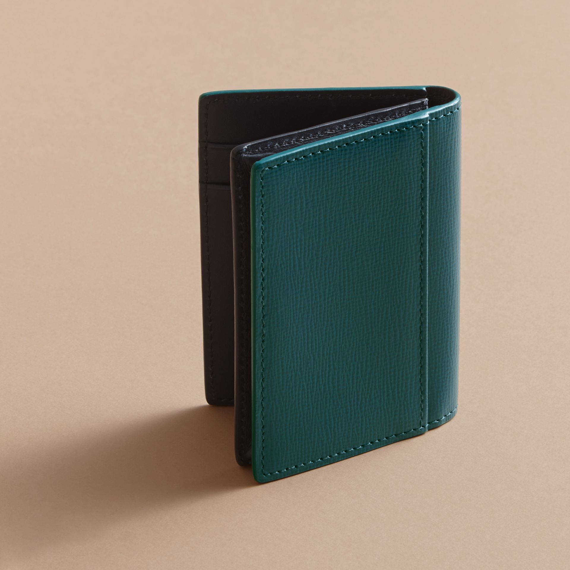 London Leather Folding Card Case in Dark Teal | Burberry - gallery image 3