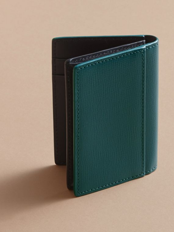London Leather Folding Card Case in Dark Teal | Burberry Canada - cell image 2