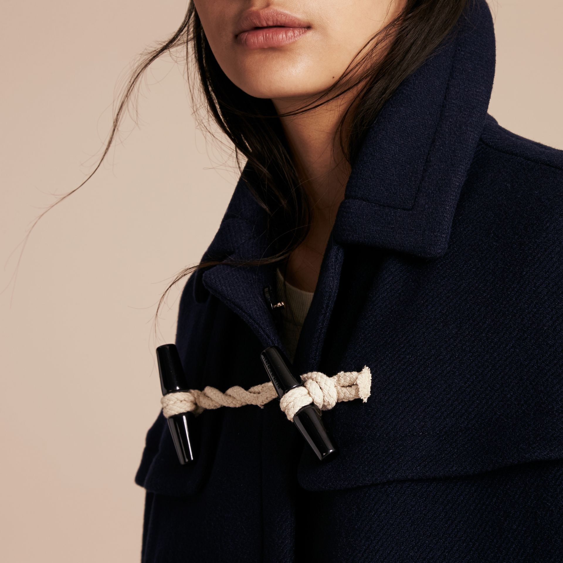 Navy Wool Cashmere Duffle Cape Coat Navy - gallery image 5