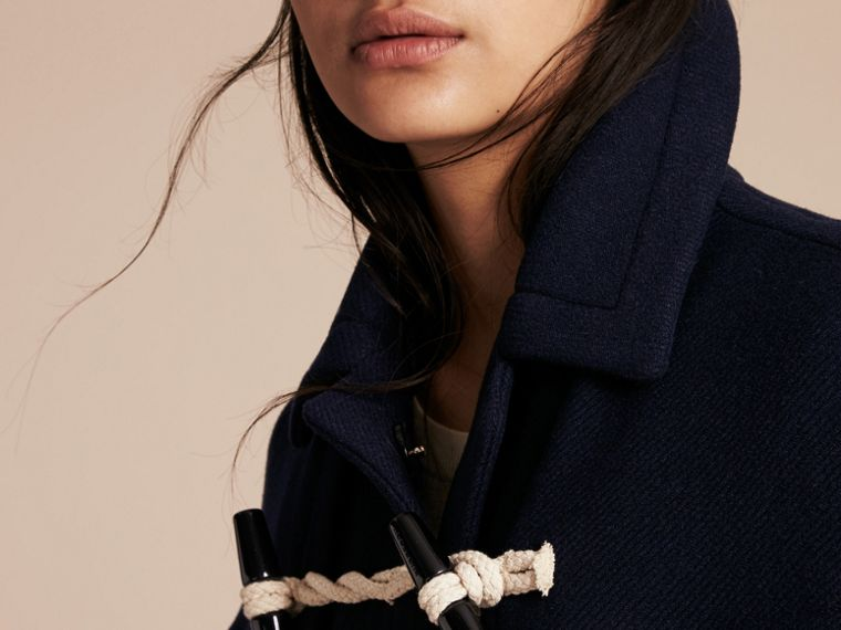 Navy Wool Cashmere Duffle Cape Coat Navy - cell image 4