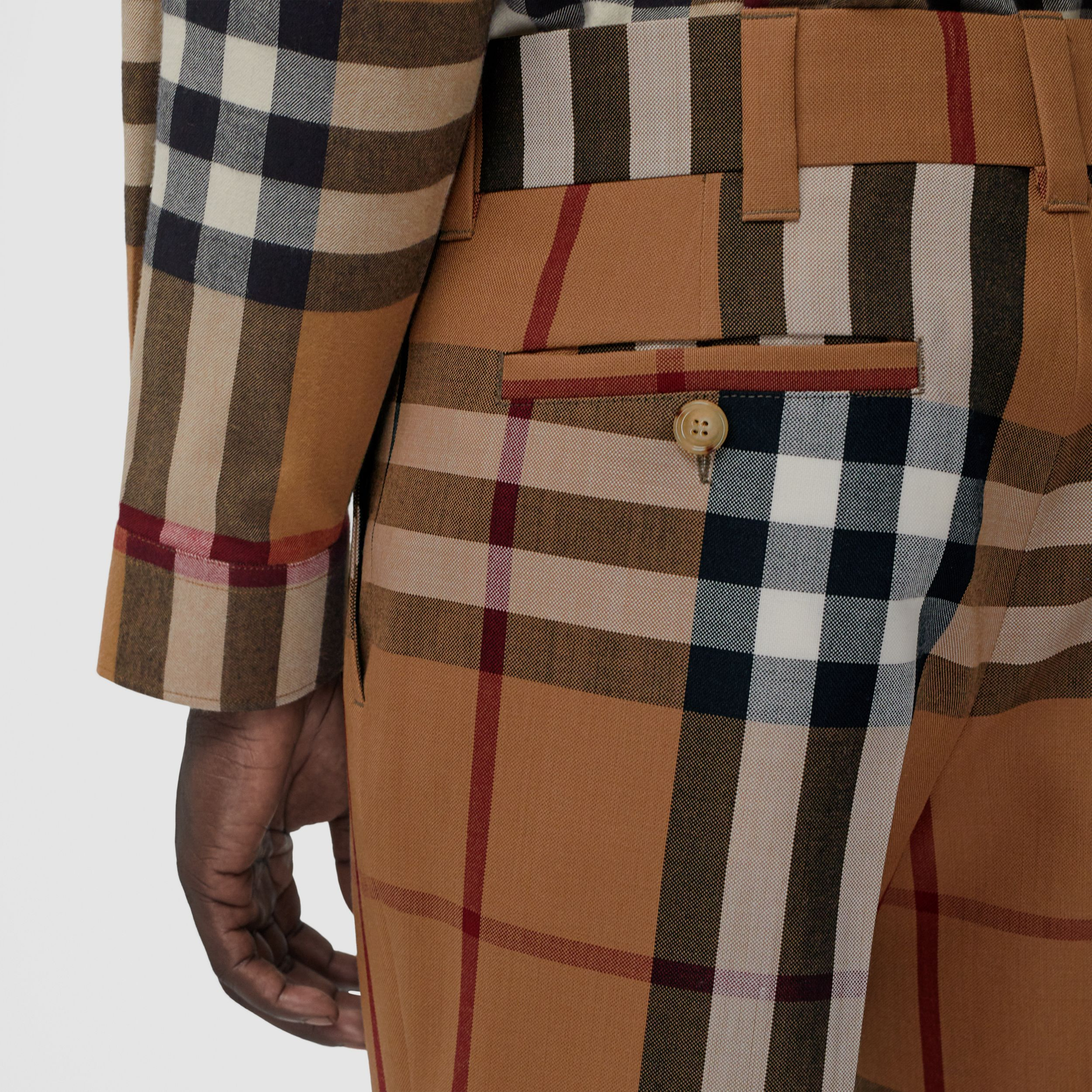 House Check Wool Tailored Trousers in Birch Brown | Burberry - 2