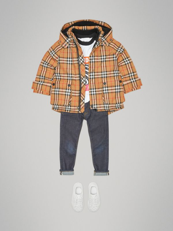 Vintage Check Down-filled Hooded Puffer Jacket in Antique Yellow | Burberry United Kingdom - cell image 2