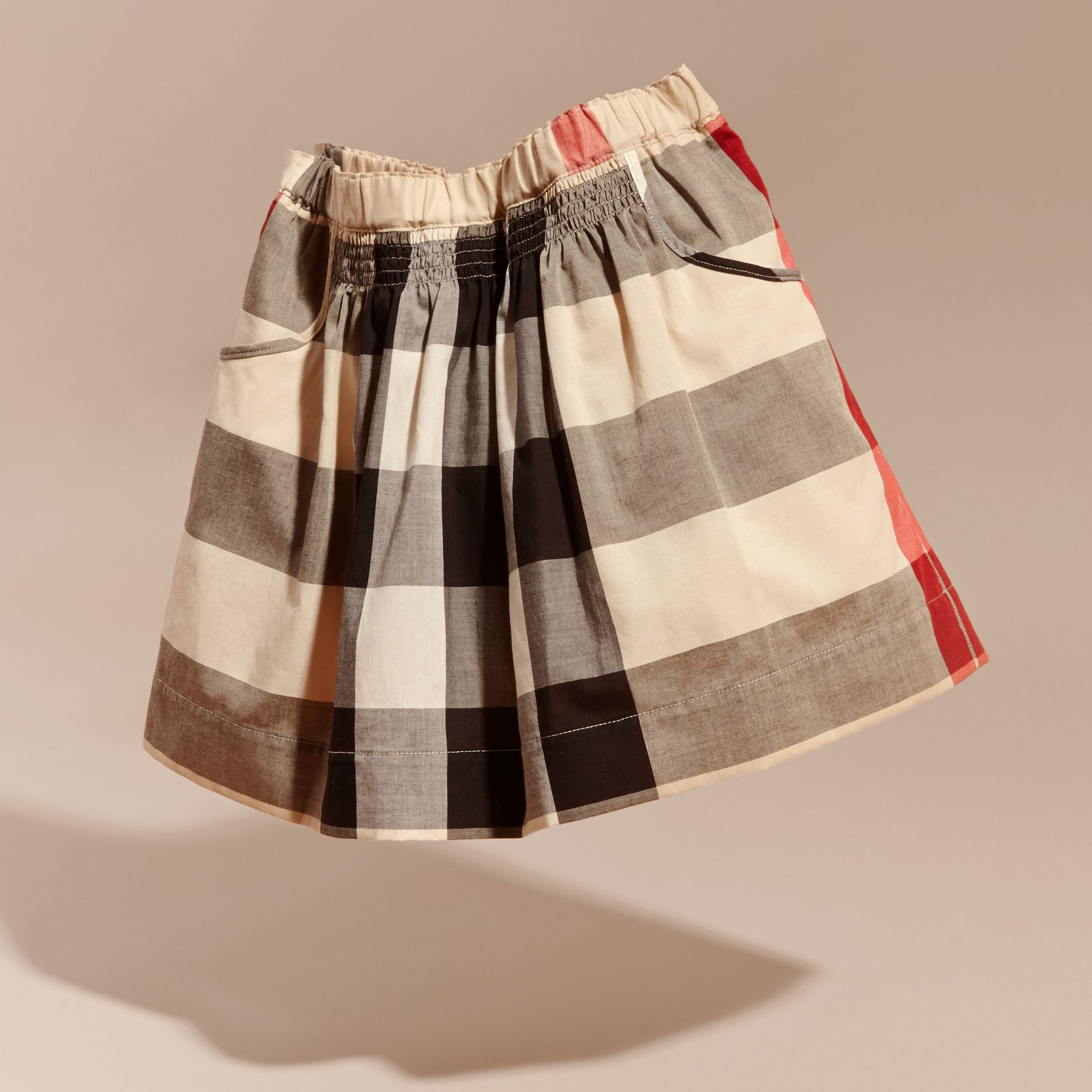 Check Cotton Ruched Skirt in New Classic - Girl | Burberry - gallery image 3