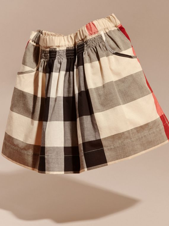 Check Cotton Ruched Skirt in New Classic - Girl | Burberry - cell image 2