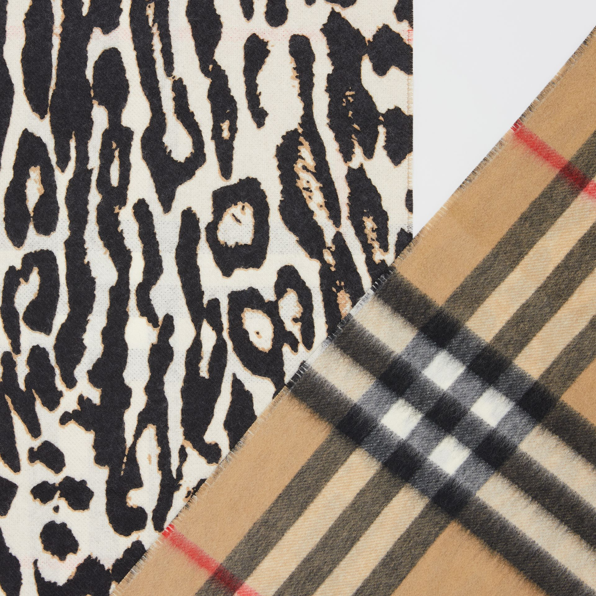 Leopard Print and Check Cashmere Scarf in Black | Burberry - gallery image 1