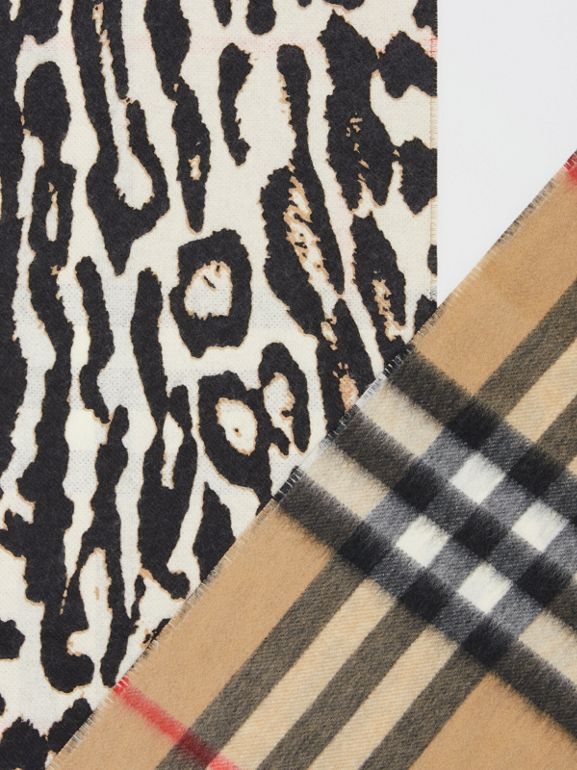 Leopard Print and Check Cashmere Scarf in Black | Burberry - cell image 1