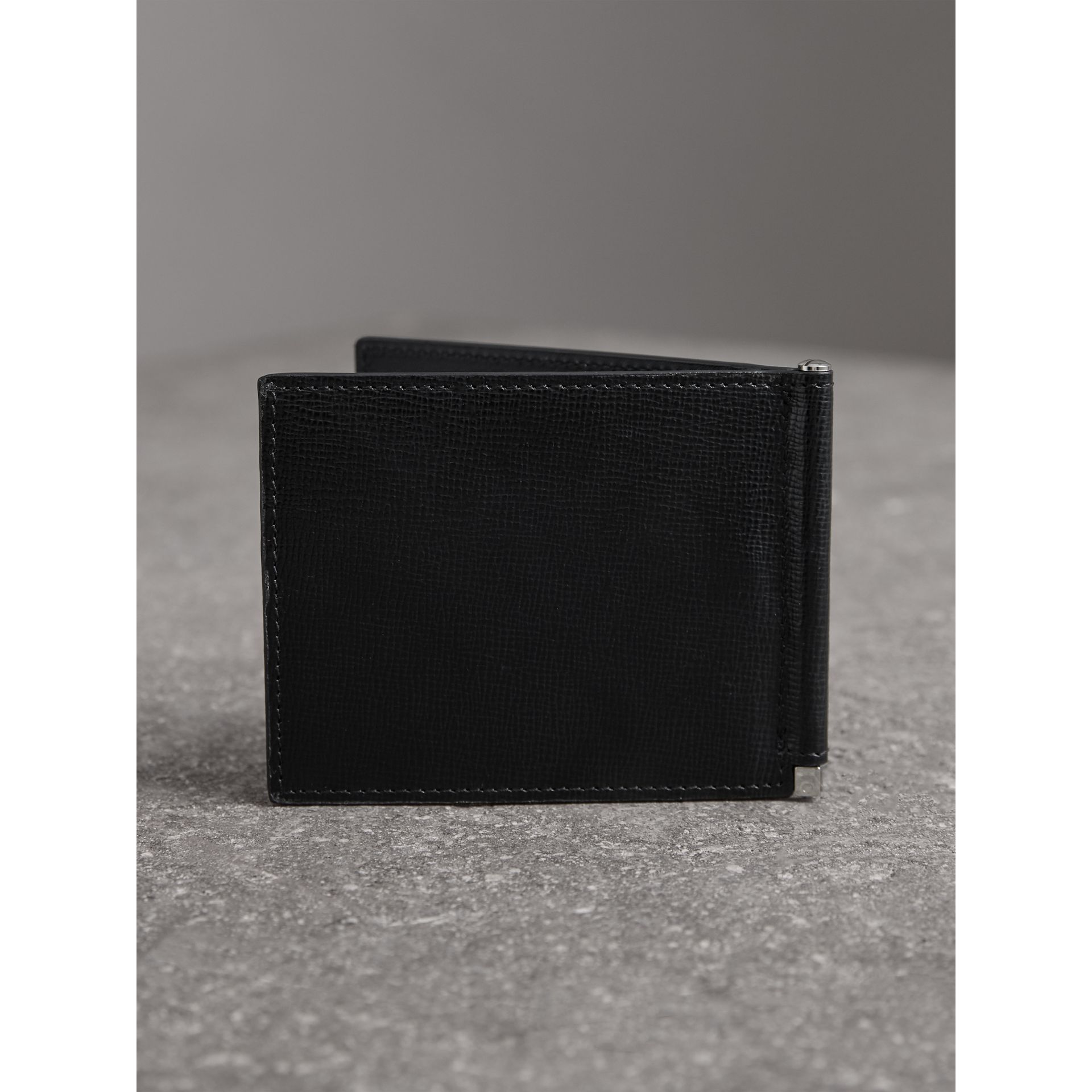 London Leather Money Clip Card Wallet in Black - Men | Burberry United States - gallery image 2