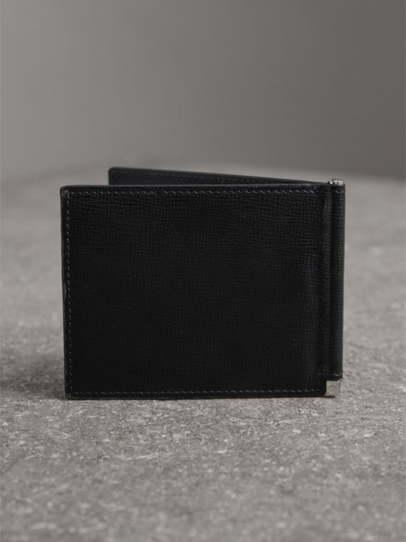 London Leather Money Clip Card Wallet in Black - Men | Burberry United States - cell image 2