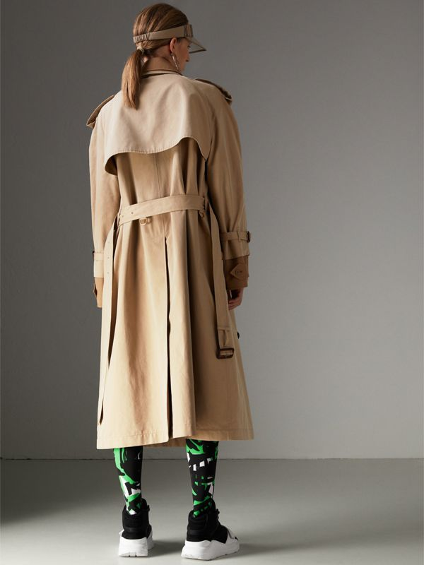 Cotton Gabardine Reconstructed Car Coat in Honey - Women | Burberry - cell image 2