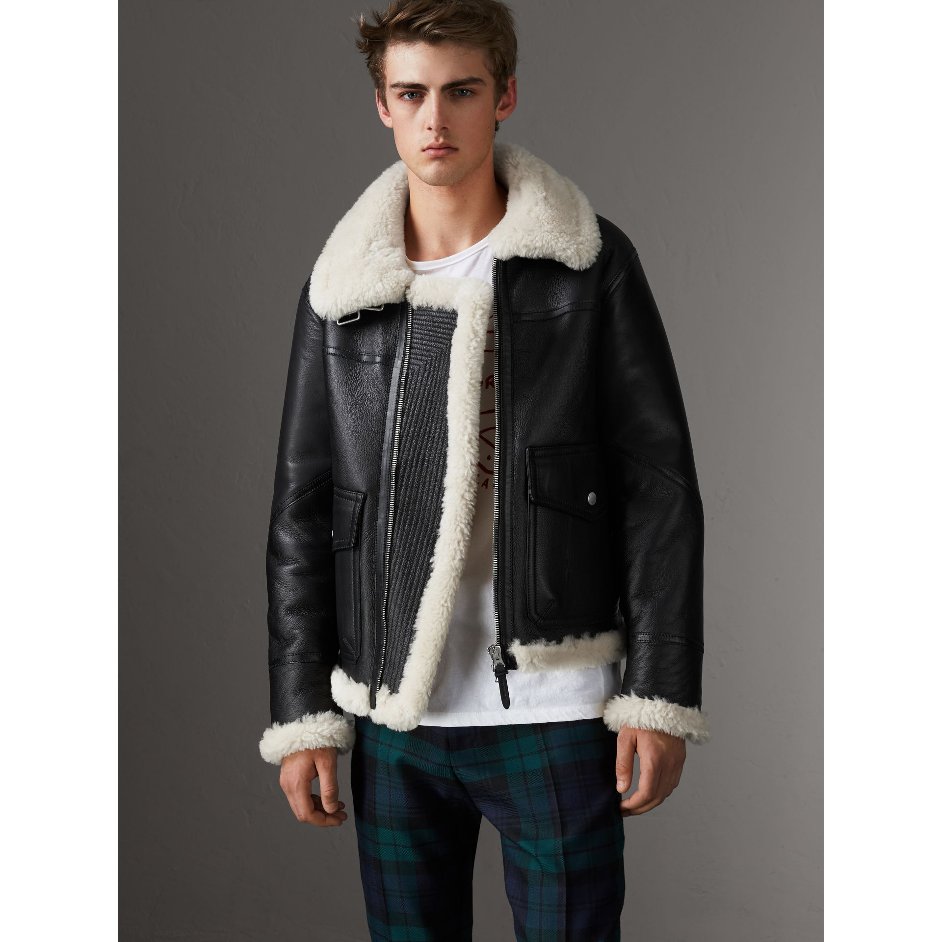 Shearling Aviator Jacket in Black - Men | Burberry - gallery image 1
