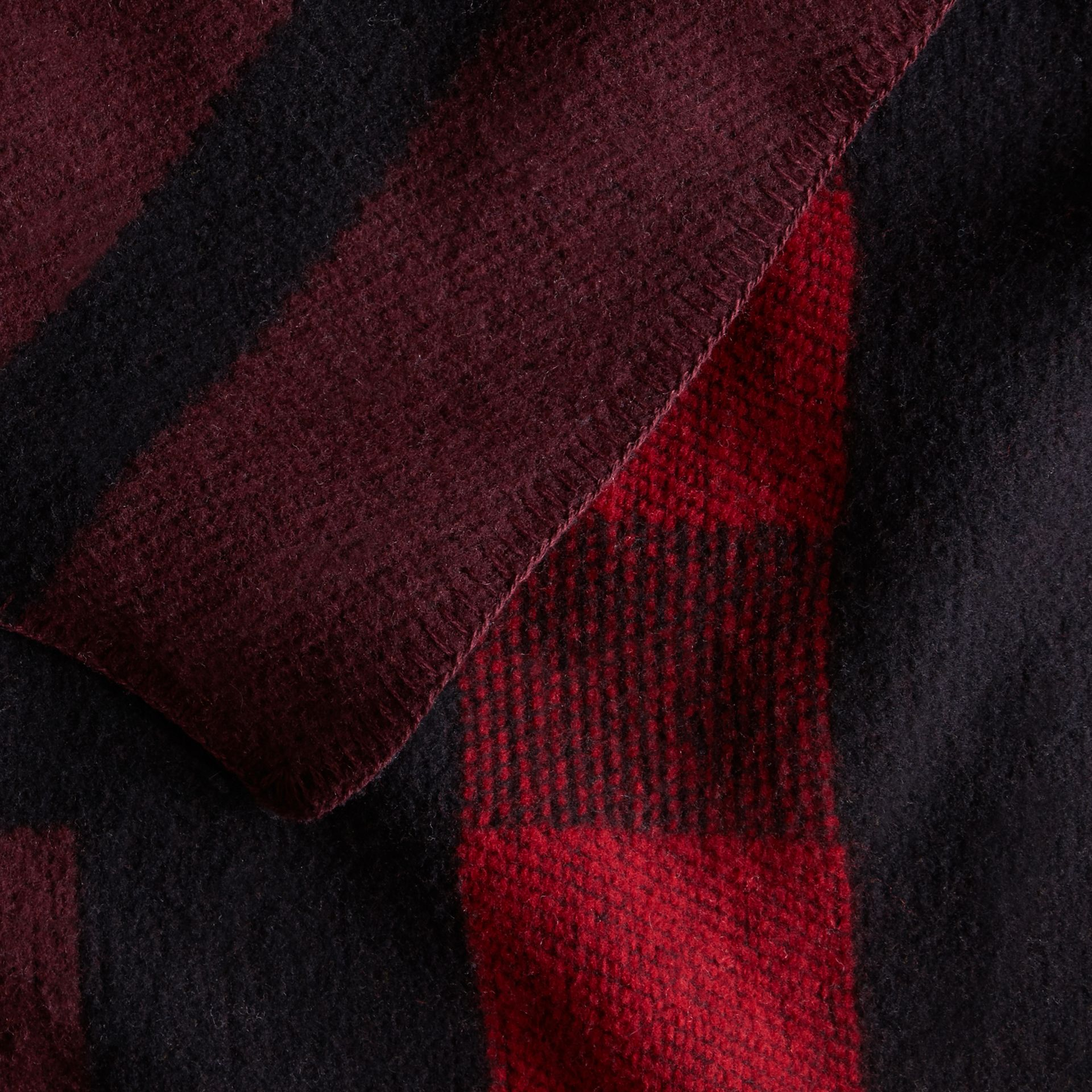 Oxblood Check Wool and Cashmere Blanket Poncho Oxblood - gallery image 4