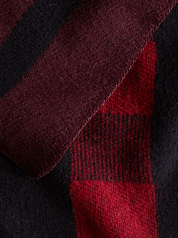 Oxblood Check Wool and Cashmere Blanket Poncho Oxblood - cell image 3
