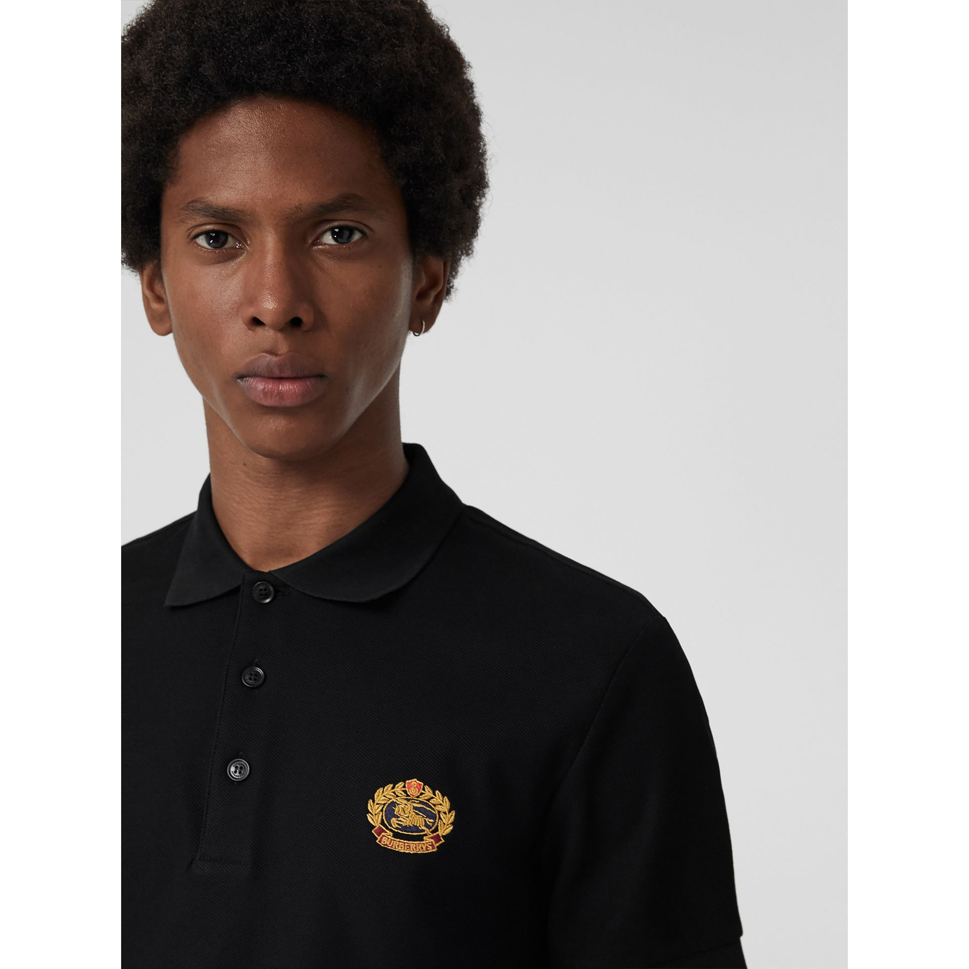 Archive Logo Cotton Piqué Polo Shirt in Black - Men | Burberry Australia - gallery image 1
